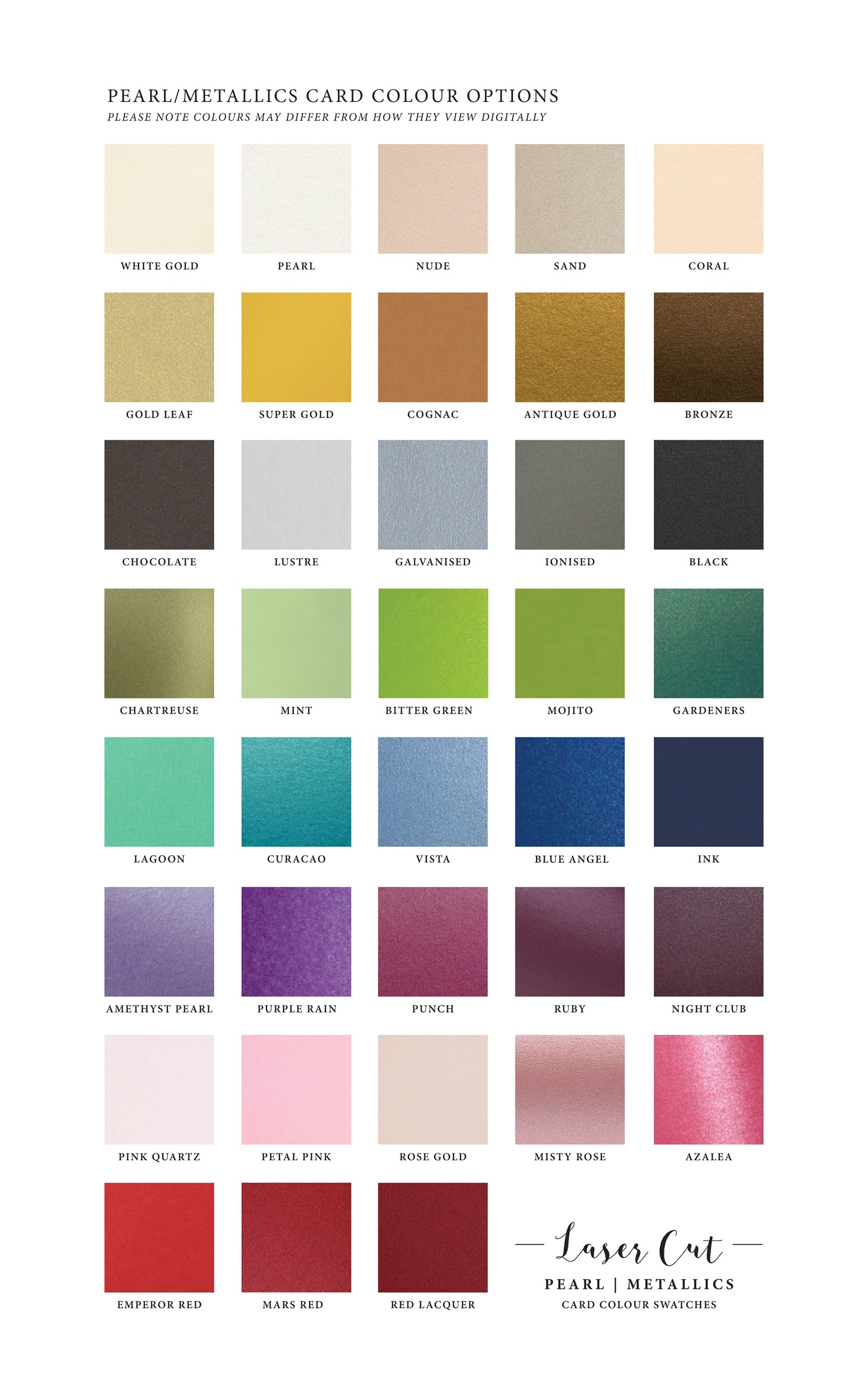 Pearl/Metallic Card Colours