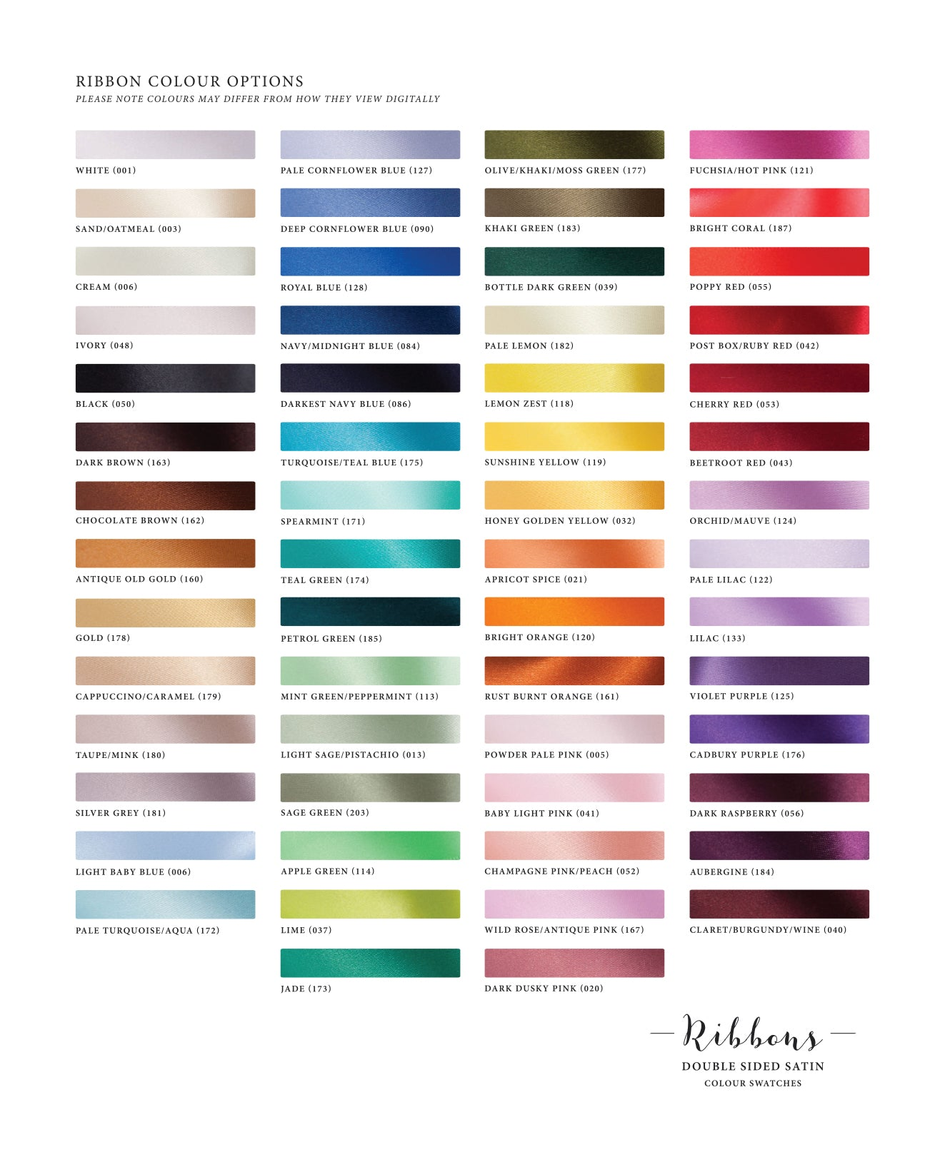 Ribbon Colour Options