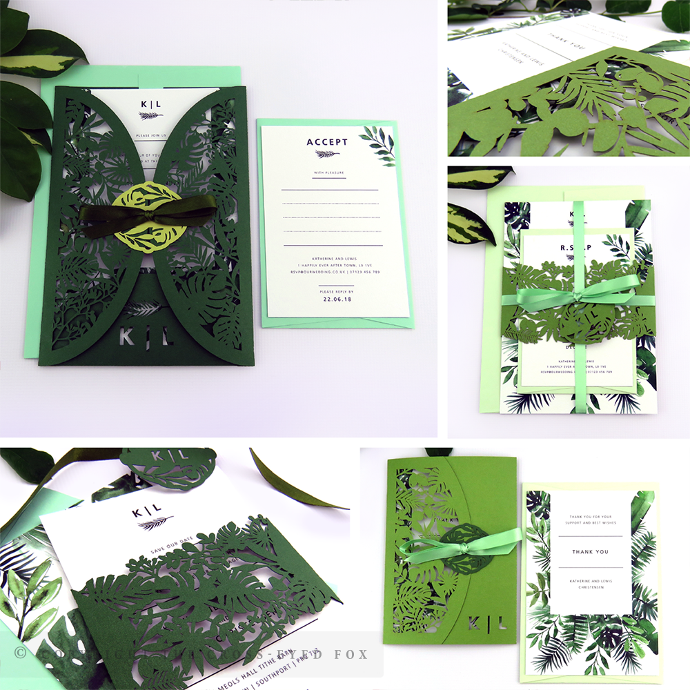 Botanical Tropical Greenery Wedding Invitations | The Cross-Eyed Fox Wedding Stationery Design