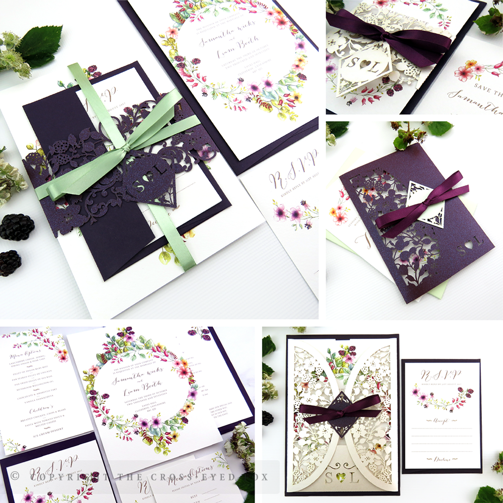 Country Brambles Cottage Chic Wedding Invitations | The Cross-Eyed Fox Wedding Stationery Design