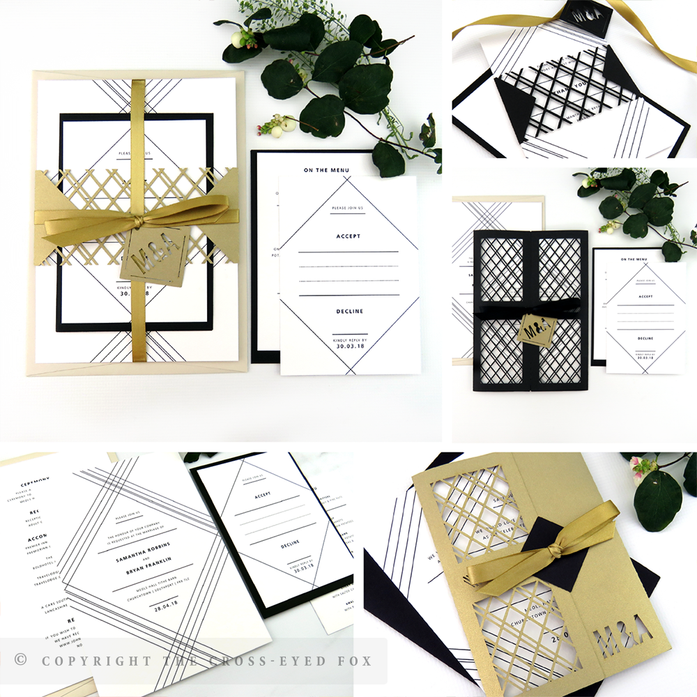 Modern Geometric Wedding Invitations | The Cross-Eyed Fox Wedding Stationery Design