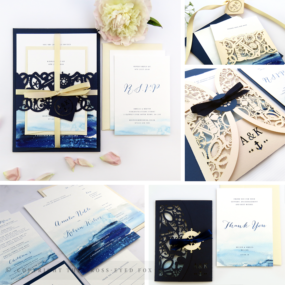 Nautical Navy & Blush Wedding Invitations | The Cross-Eyed Fox Wedding Stationery Design