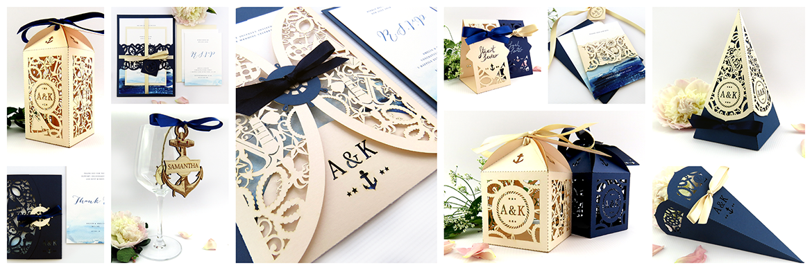 Nautical wedding stationery and decorations