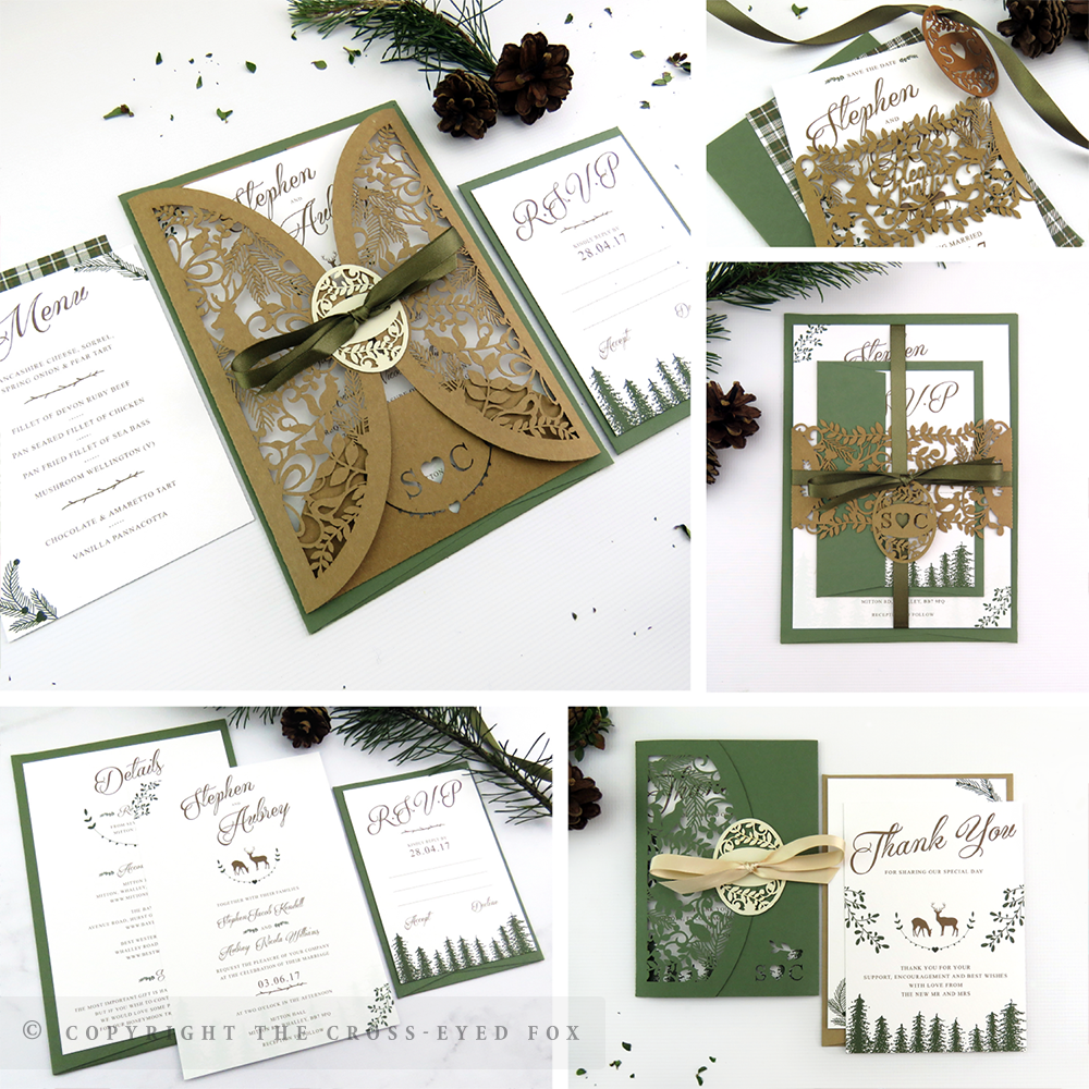 Rustic Woodland Wedding Invitations | The Cross-Eyed Fox Wedding Stationery Design