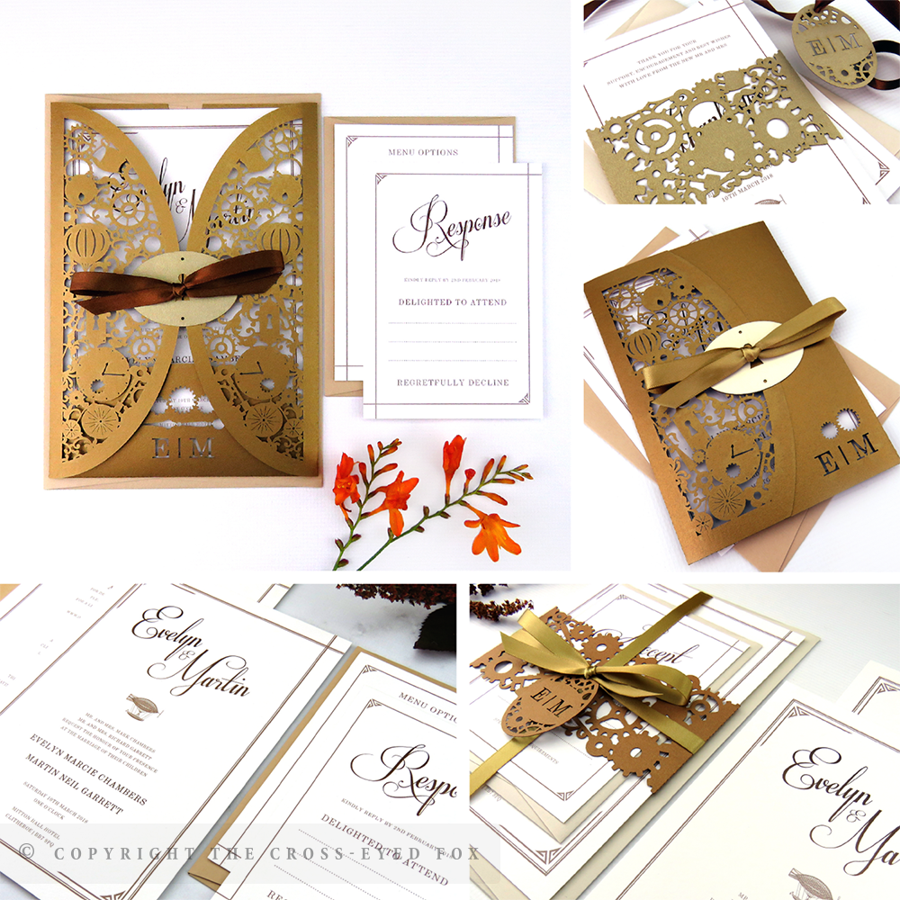 Steampunk Alternative Wedding Invitations | The Cross-Eyed Fox Wedding Stationery Design