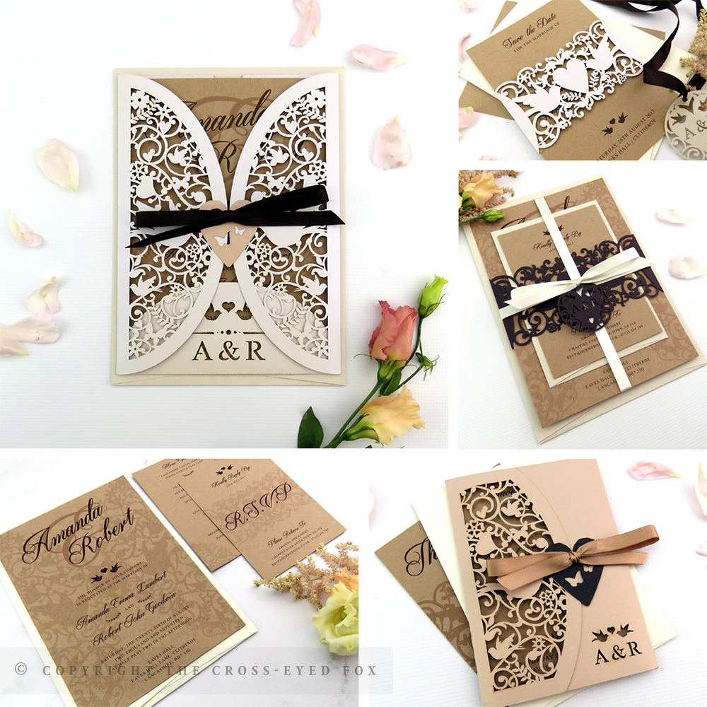 Vintage Love Birds Boho Wedding Invitations | The Cross-Eyed Fox Wedding Stationery Design