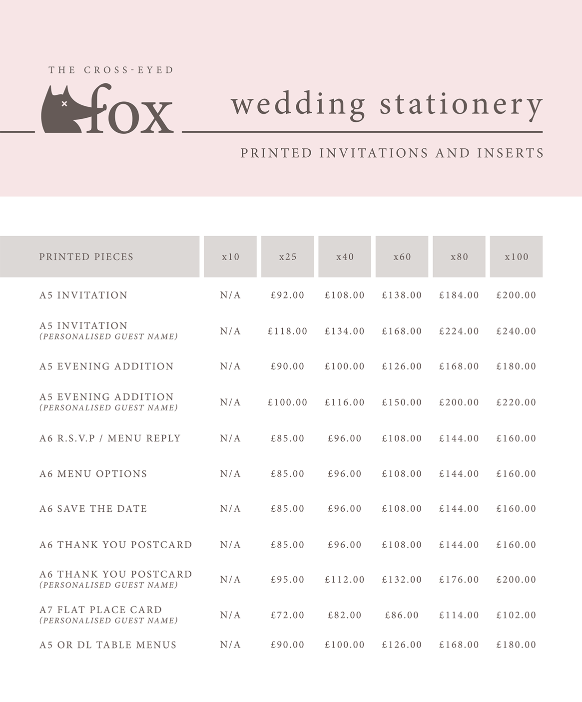 The Cross-Eyed Fox Wedding Invitation Price Guide 2017/2018