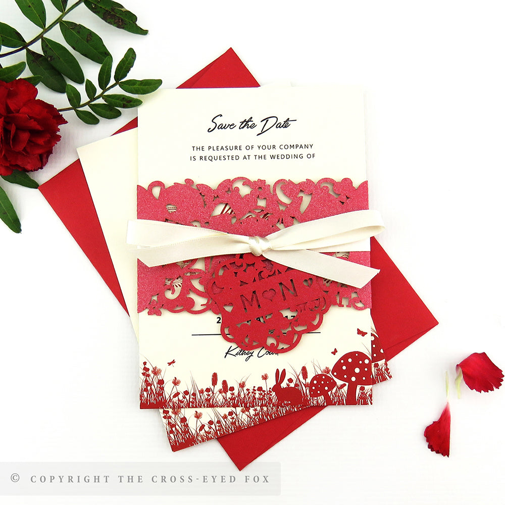Alice in Wonderland Wedding Laser Cut Save the Date Belly Band – The ...