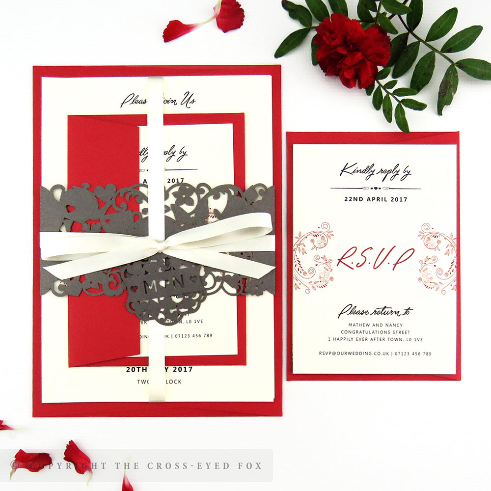 Alice in Wonderland Wedding Laser Cut Invitation Belly Band – The ...