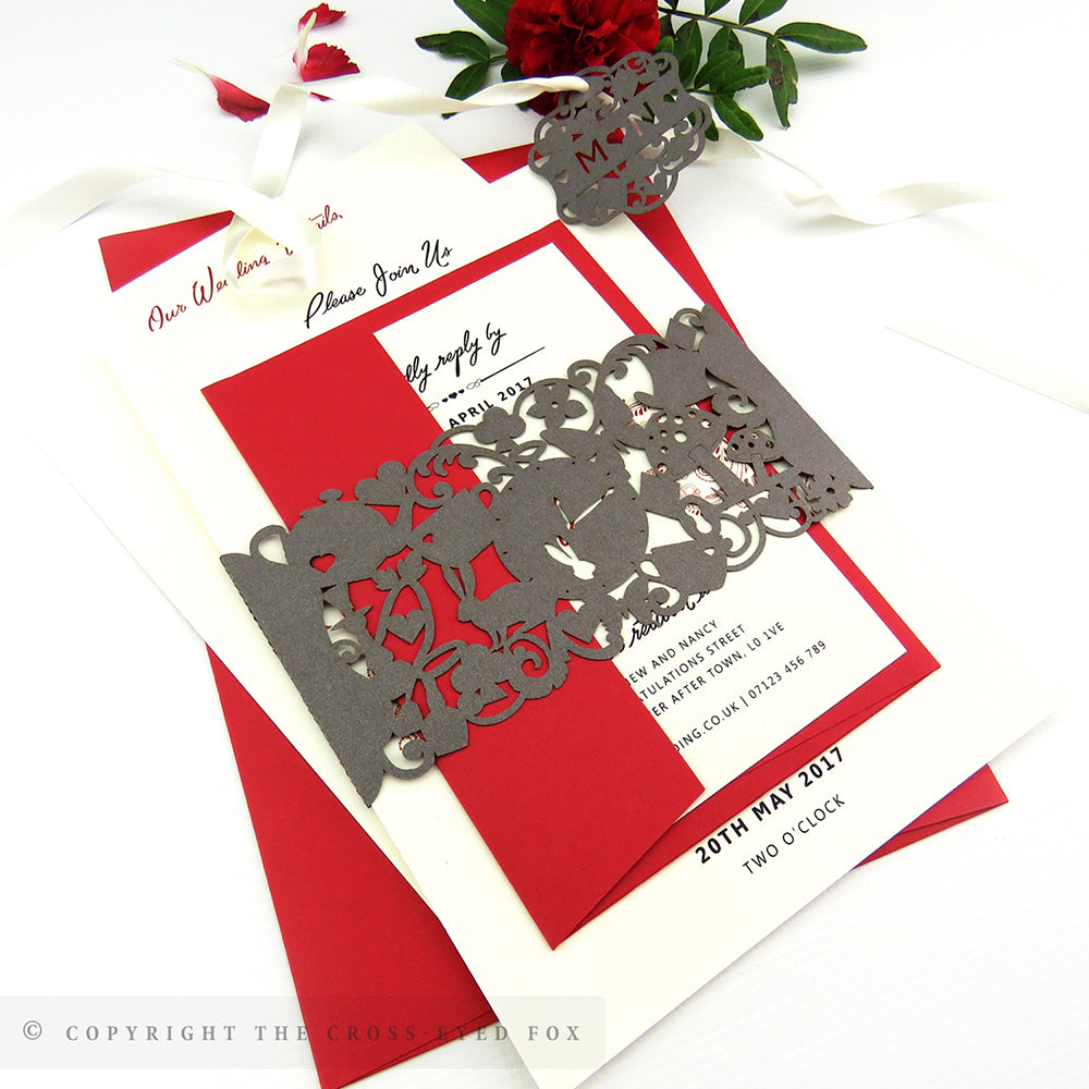Alice in Wonderland | Sample Set Wedding Invitation & Belly Band ...