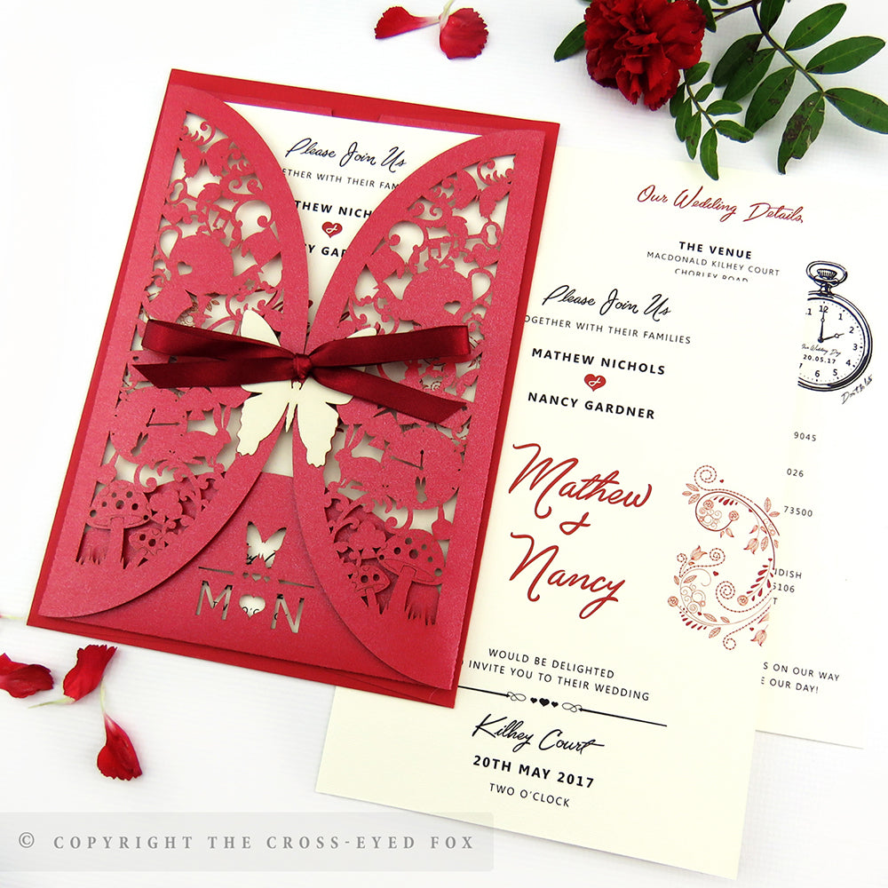 Alice in Wonderland Laser Cut Wedding Stationery – The Cross-Eyed Fox