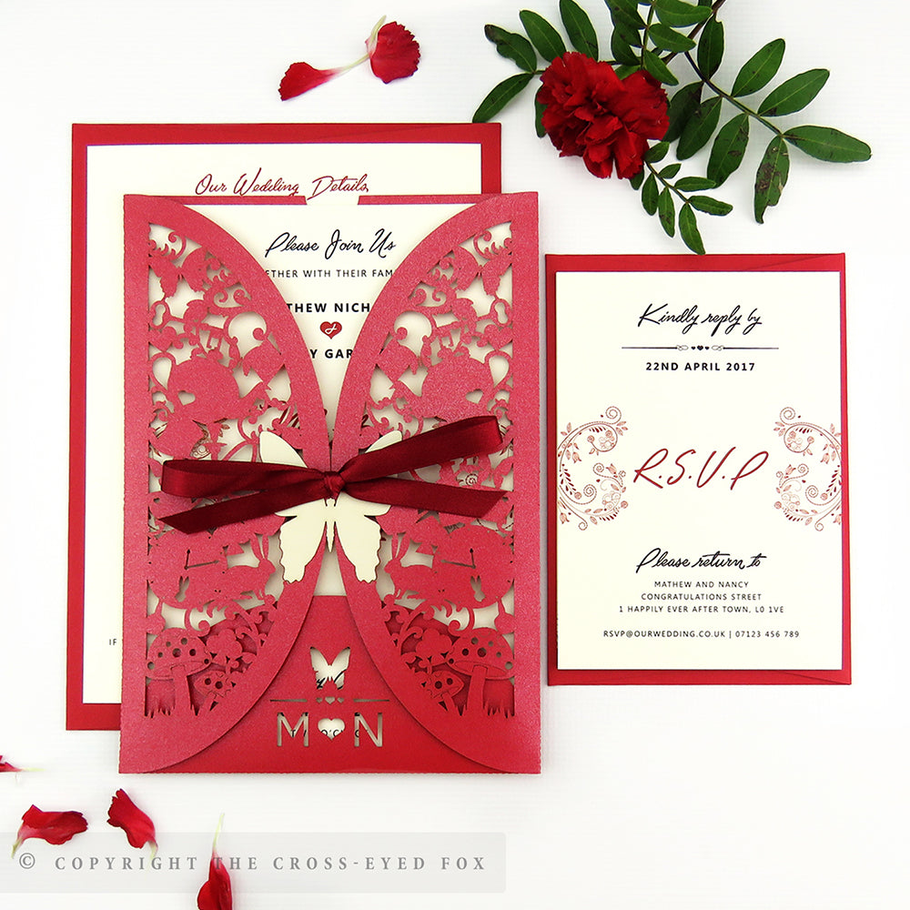 Alice in Wonderland Wedding Laser Cut Invitation Gatefold Jacket ...