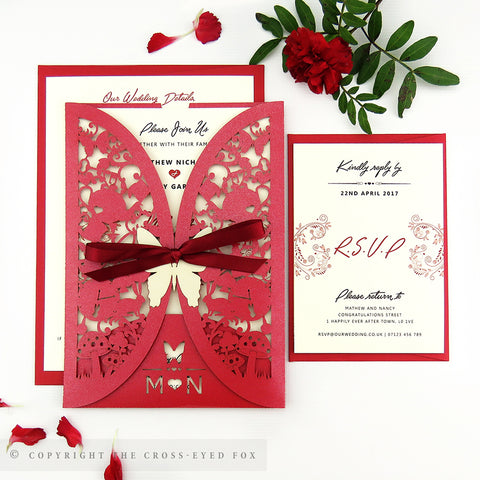 Alice in Wonderland Wedding Invitation Gatefold Jacket