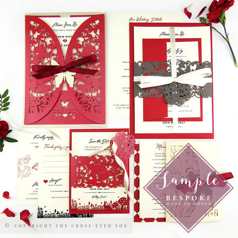 Alice in Wonderland Laser Cut Wedding Stationery | Full Sample Suite