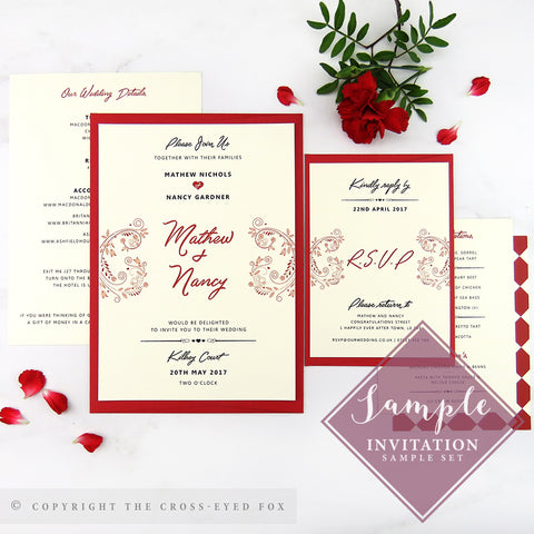 Alice in Wonderland Wedding Invitations | Print Sample Set