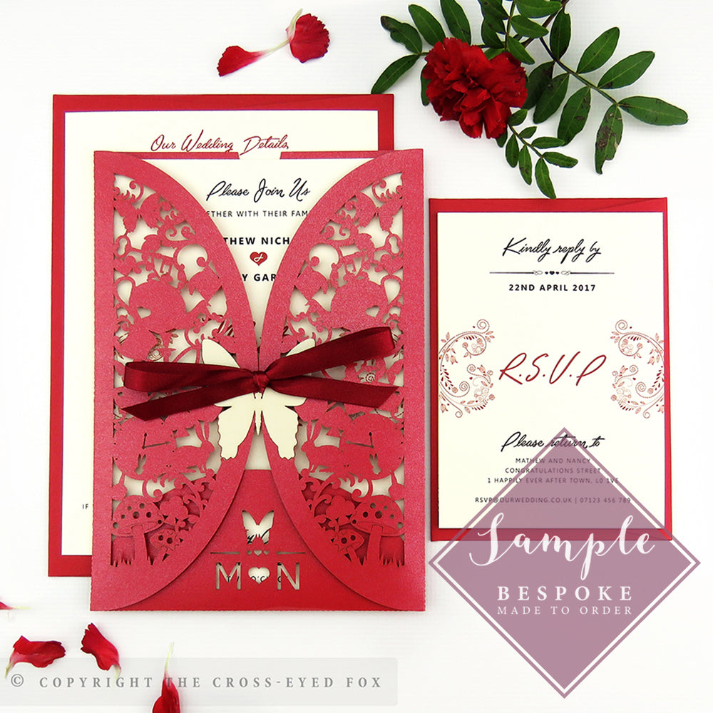 Alice in Wonderland | Sample Set Laser Cut Wedding Invitation ...