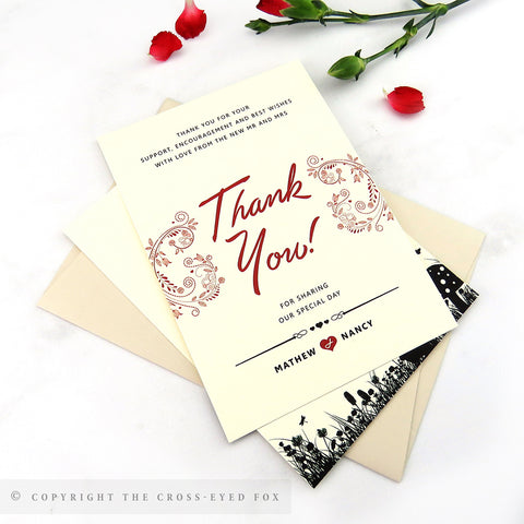 Alice in wonderland wedding thank you card