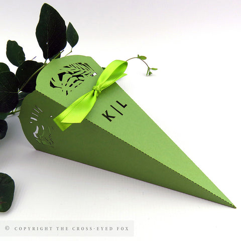 Botanical wedding confetti cone, laser cut tropical wedding, greenery wedding