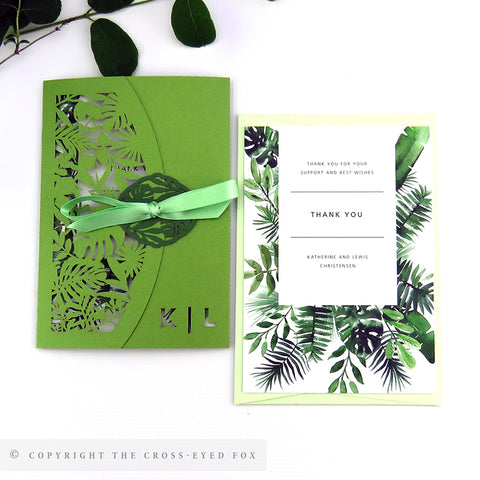 Botanical Wedding Invitation Single Fold Jacket