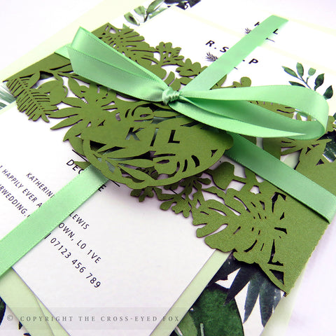 Botanical Wedding Invitation A5 Belly Band