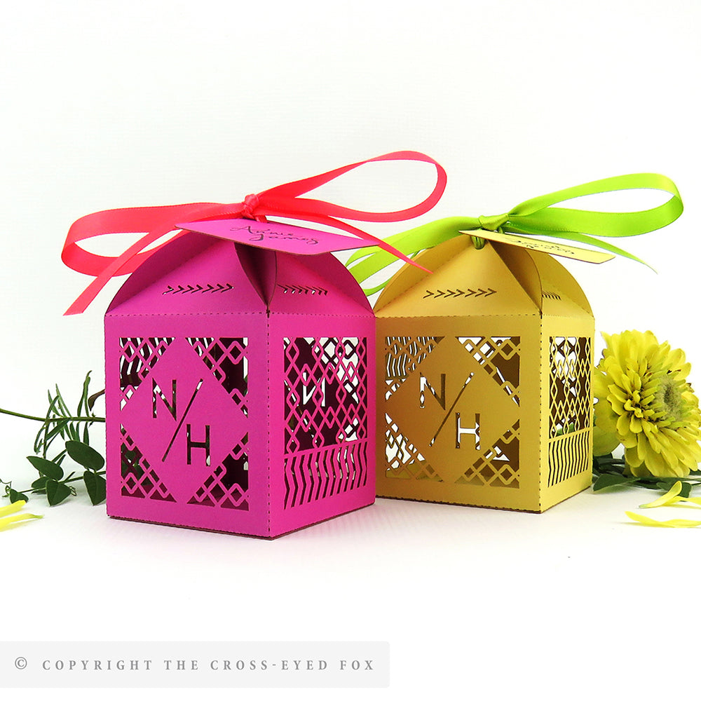 Colourful Bold Geometric Personalised Favour Boxes – The Cross-Eyed Fox