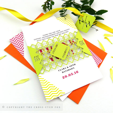 Bold Geometric Wedding Invitation A6 Belly Band