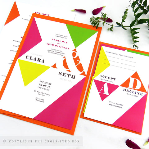 Bold Geometric Wedding Invitations