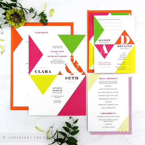 Bold Geometric | Sample Set Wedding Invitation & Belly Band