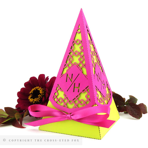 Bold Geometric Pyramid Personalised Favour Boxes