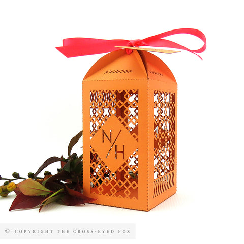 Bold Geometric Tall Personalised Favour/Bottle Boxes