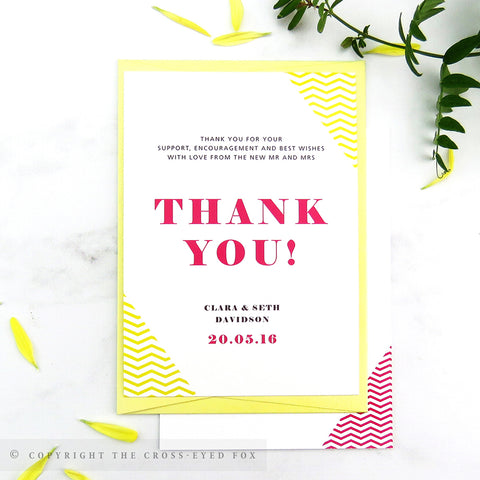 Bold Geometric Wedding Thank You Cards