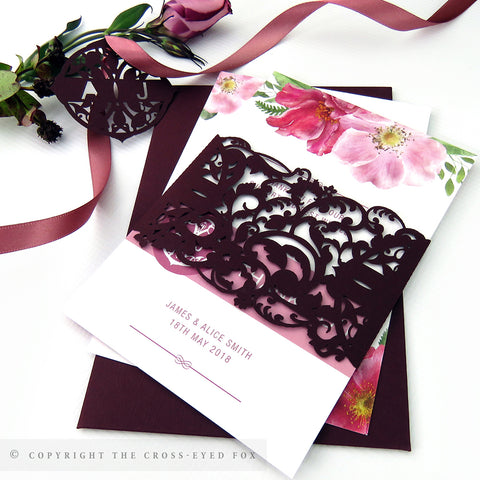 English Country Garden Wedding Invitation A6 Belly Band