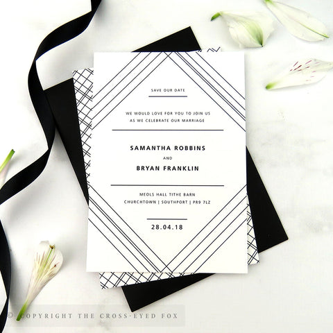 Modern Geometric Wedding Save the Date Cards