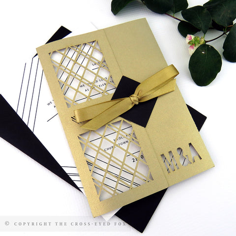 Modern Geometric Wedding Invitation Single Fold Jacket