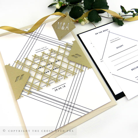 Modern Geometric Wedding Invitation A5 Belly Band
