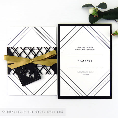 Modern Geometric Wedding Invitation A6 Belly Band