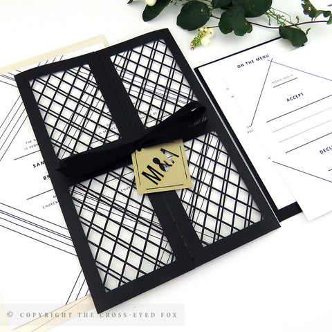 Modern Geometric Wedding Invitation Gatefold Jacket