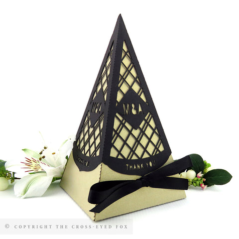 Modern Geometric Pyramid Personalised Favour Boxes