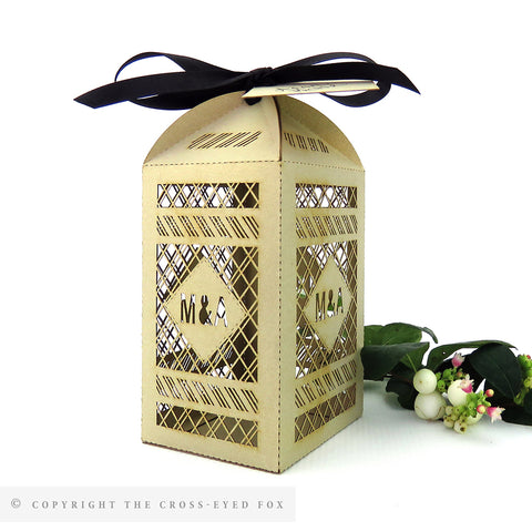 Modern Geometric Tall Personalised Favour/Bottle Boxes