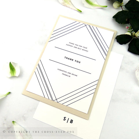 Geometric wedding thank you card, Patterned wedding, Minimalist wedding thank you card, Art Deco wedding invitation, Modern wedding invite