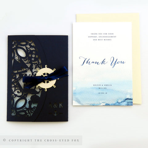 Nautical Wedding Invitation Single Fold Jacket