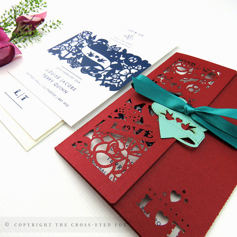 Rockabilly Wedding Invitation Single Fold Jacket