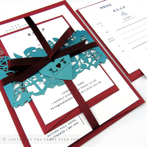 Rockabilly Wedding Invitation A5 Belly Band