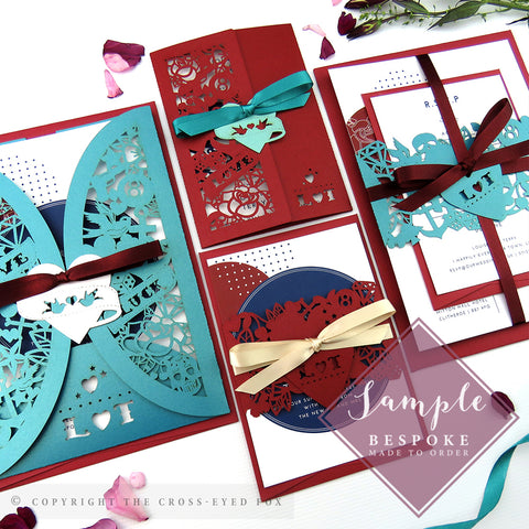 Rockabilly | Sample Set Full Collection | Laser Cut Wedding Stationery