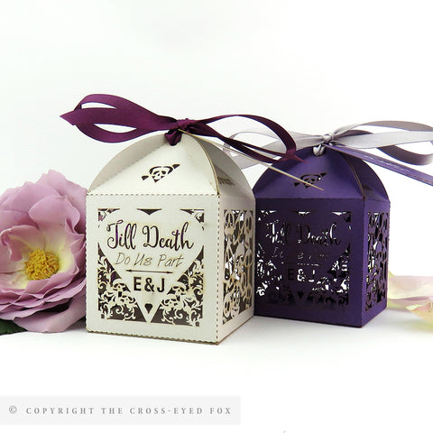 Gothic Skulls Wedding Personalised Favour Boxes