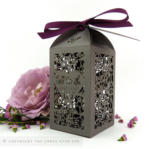 Gothic Skulls Wedding Tall Personalised Favour/Bottle Boxes