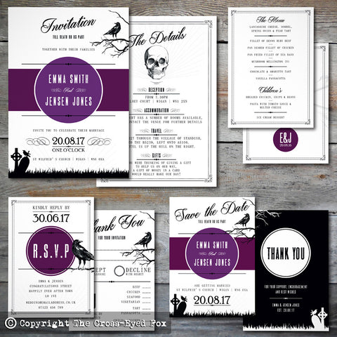 Gothic Skulls | Sample Set Full Collection | Laser Cut Wedding Stationery