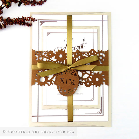 Steampunk Laser Cut Wedding Stationery | Full Sample Suite