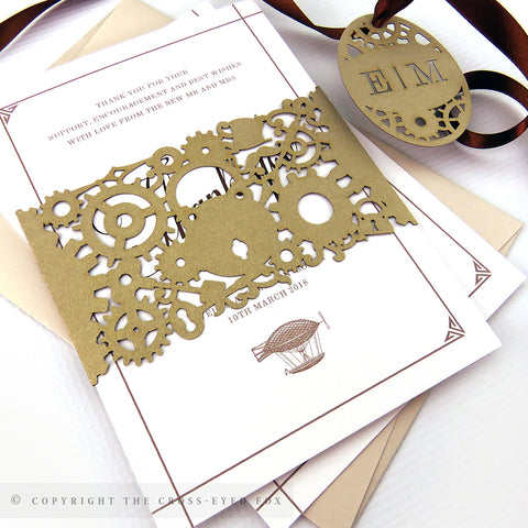 Steampunk Wedding Invitation A6 Belly Band