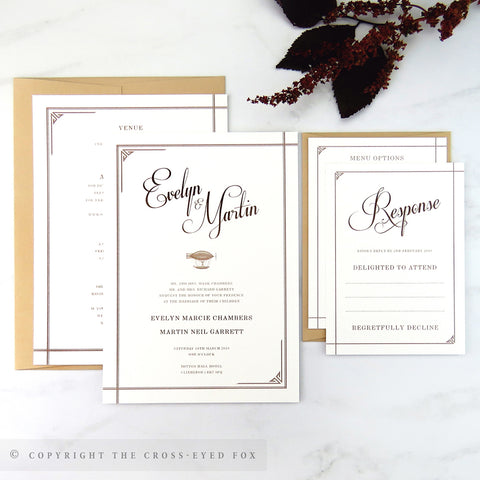 Steampunk | Sample Set Wedding Invitation & Belly Band